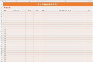 学生家庭住址情况统计表表格
