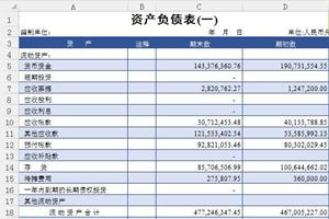 资产负债表含数据表