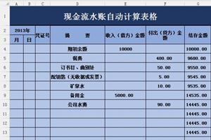 公司现金流水账自动计算表格