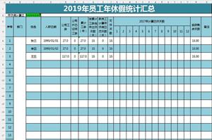 公司年休假计算统计表