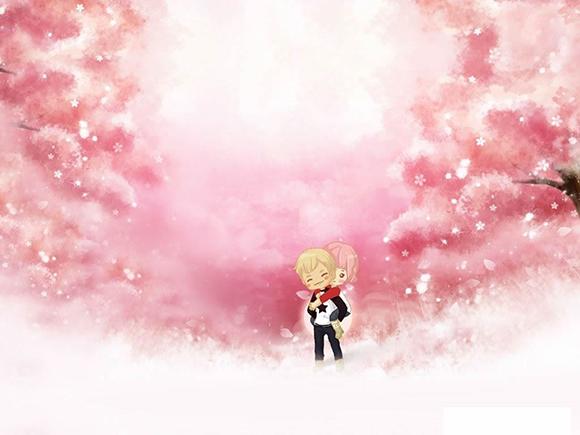 粉色卡通小情侣ppt背景图片