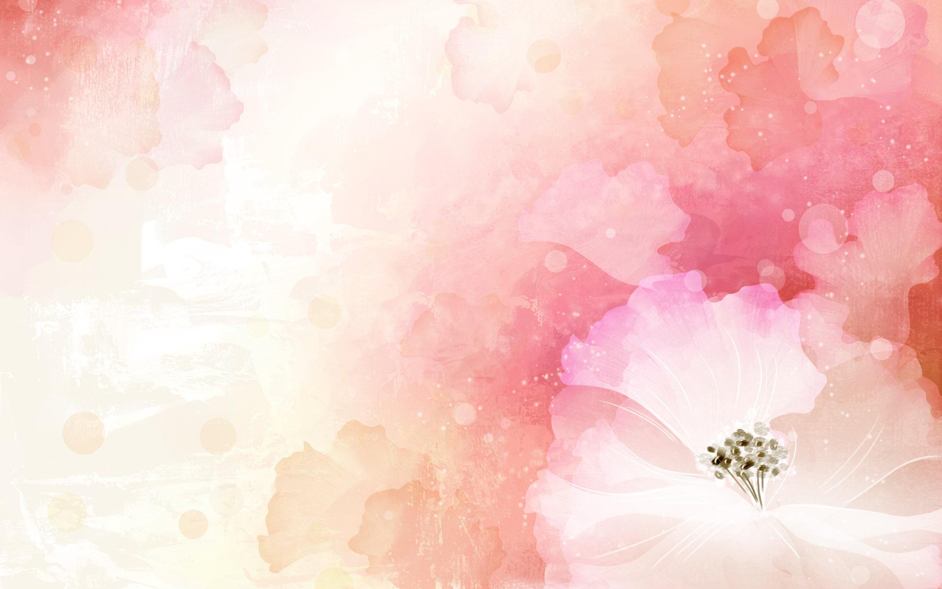 朦胧粉色水彩花蕊ppt背景图片