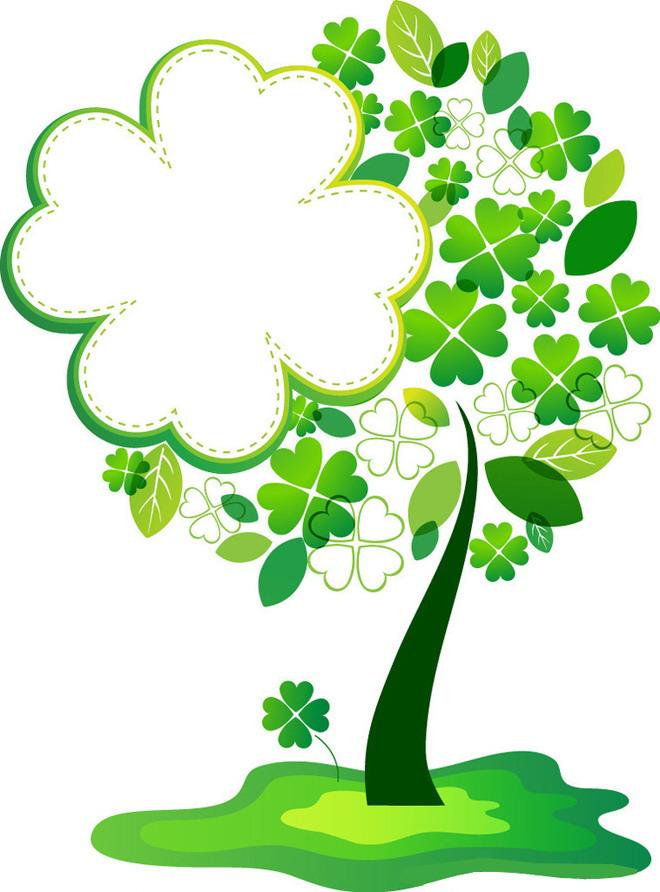 绿色四叶草卡通边框ppt背景图片