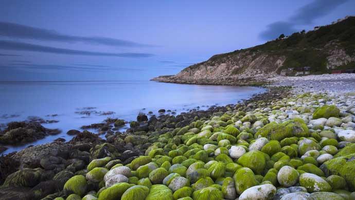 布满藻类鹅卵石的教堂宇宙湾ppt图片素材免费下载
