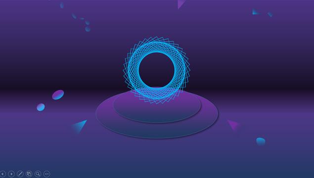 线网创意科技感紫蓝个人工作总结汇报ppt模板