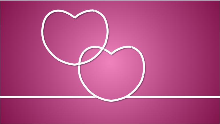 粉色爱心背景的动态情人节幻灯片ppt模板