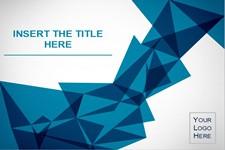 国外蓝色折纸背景艺术设计PPT模板