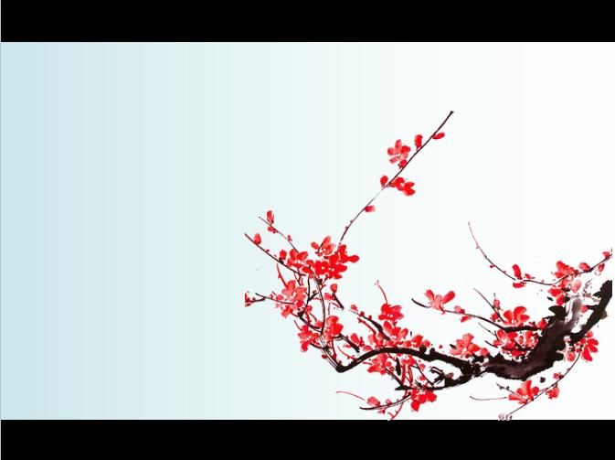 梅花背景中国风PPT模板