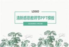 淡绿色清新感恩教师节PPT模板