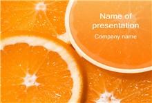 晶莹剔透的橙子背景ppt模板