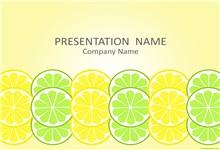 创意夏日清凉柠檬片背景ppt模板
