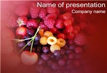 樱桃桑葚紫色水果背景ppt模板