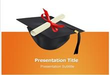 博士帽毕业证书背景ppt模板