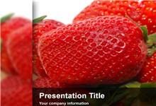 高清草莓水果背景ppt模板