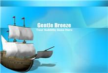 蓝色卡通风格海洋帆船ppt模板