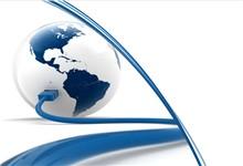 网线接入地球背景创意科技商务ppt模板