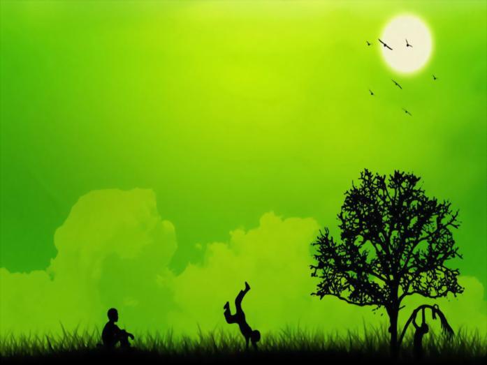 唯美绿色自然PPT模板