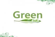 环保主题绿叶上的高楼大厦ppt模板