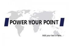 灰色世界地图背景黄蓝配色商务ppt模板