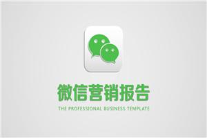 创意绿色小清晰简约营销报告通用PPT模板