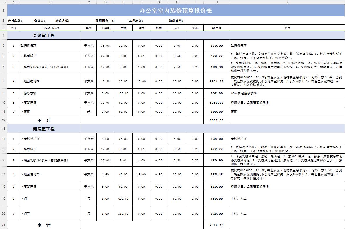 公司办公室装修预算表使用说明: 1、序号 2、工程项目名称 3、单位 4、工程量 5、主材辅料 6、机械 7、人工 8、损耗 9、客户价