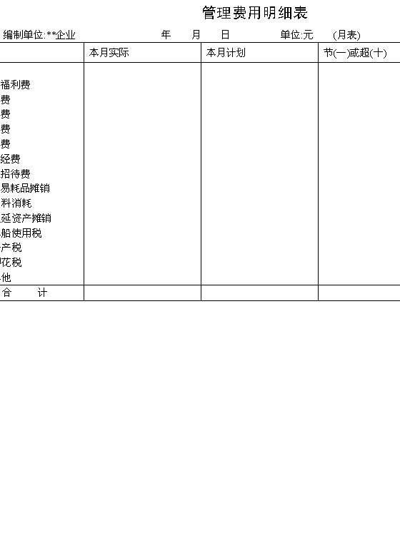 管理费用明细表 DOC格式