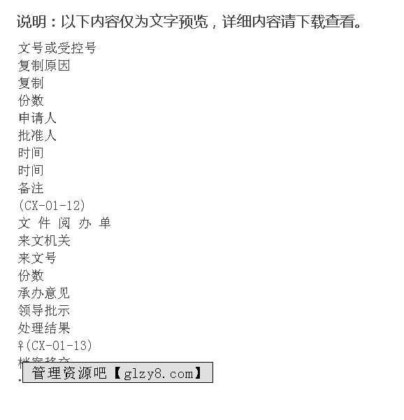 程序文件表格汇编(表格模板,doc格式)