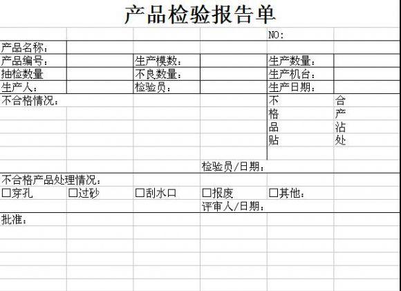 产品检验报告单模板.xls