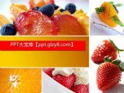 健康饮食草莓水果沙拉PPT模板下载