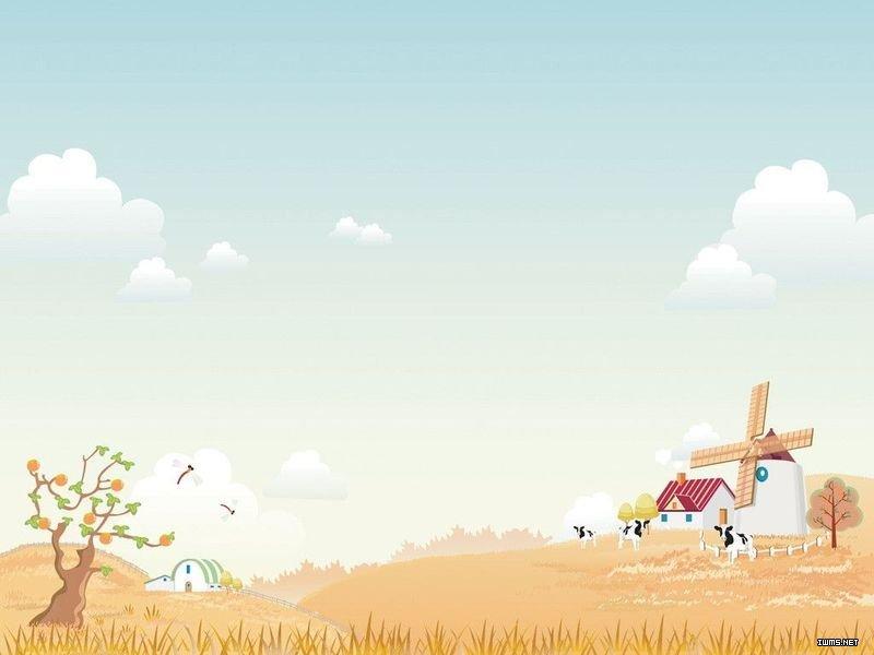 秋景,田野,树,房子ppt背景图片