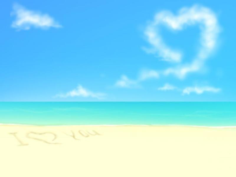 海边沙滩淡雅ppt背景图片