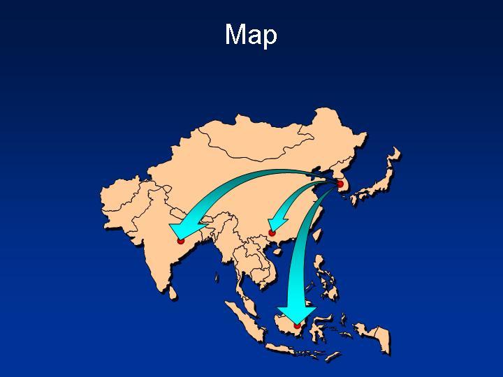 亚洲版块地图地图PPT模板