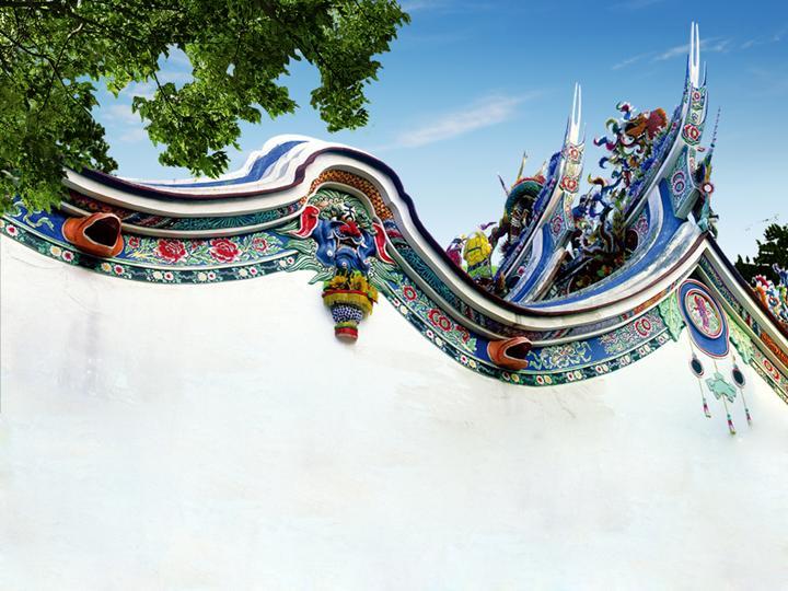 中国风古典庭院蓝色PPT模板