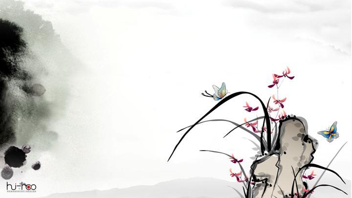 水墨山 蝴蝶中国风灰色PPT模板