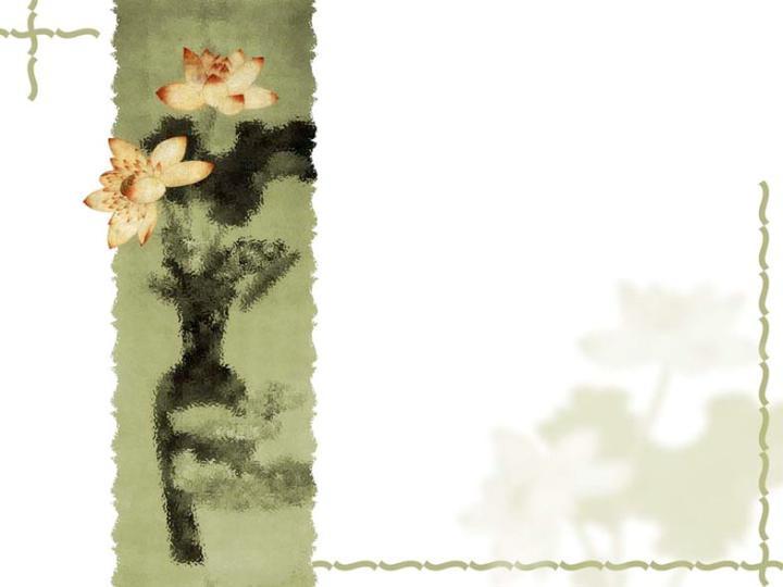 荷花国画风格ppt模板免费下载