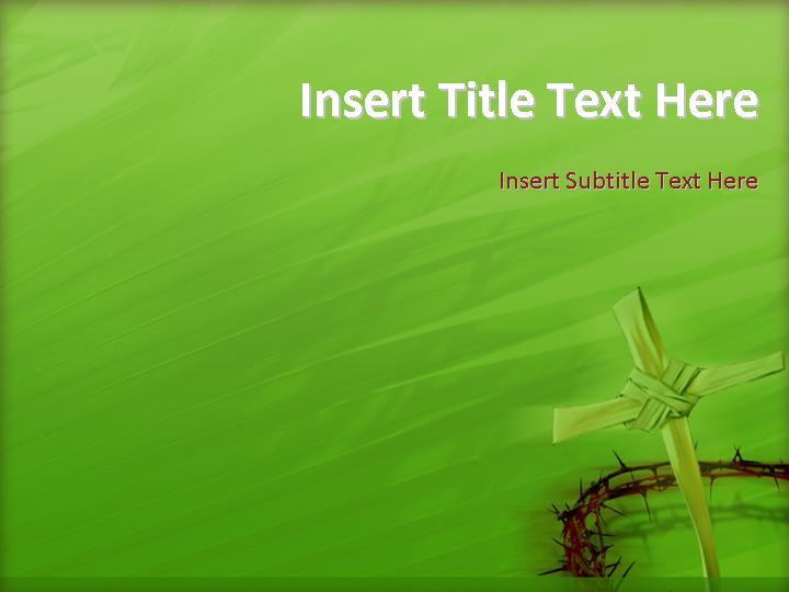 十字架绿色自然PPT模板