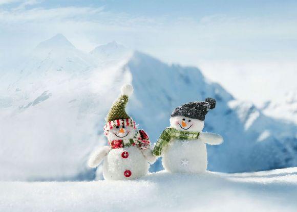 圣诞节两个小雪人ppt背景图片