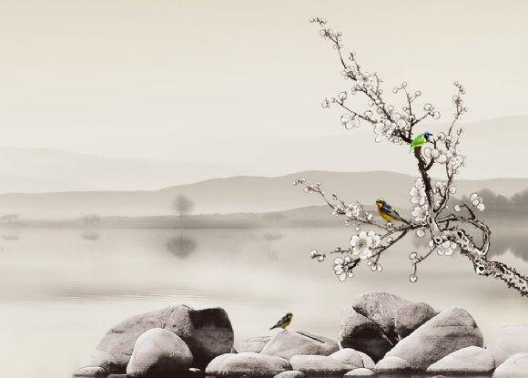 山水意境鸟ppt背景图片