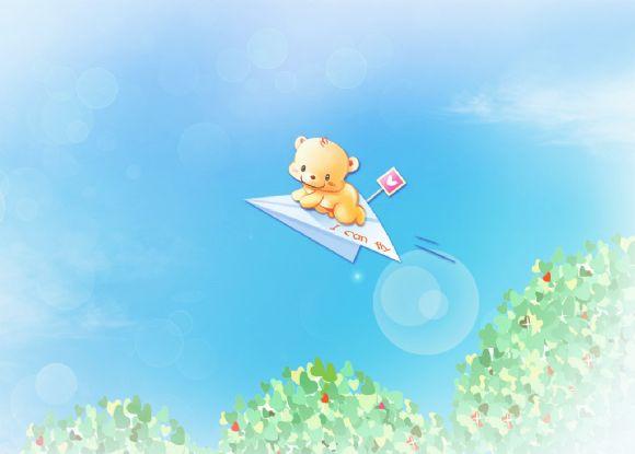 卡通小熊飞翔ppt背景图片