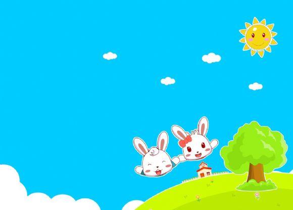 可爱飞翔兔子ppt背景图片