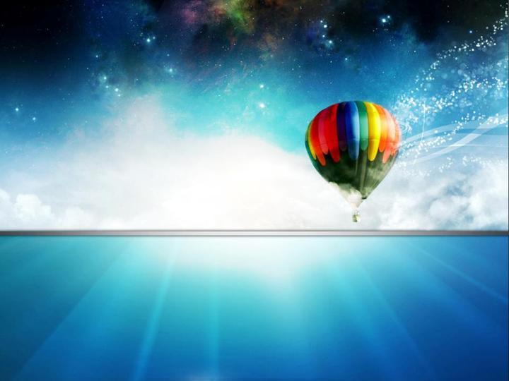 飞向天空的氢气球ppt模板免费下载