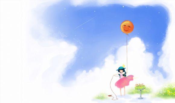 小女孩气球卡通ppt背景图片