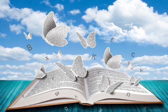蝴蝶与书本ppt背景图片