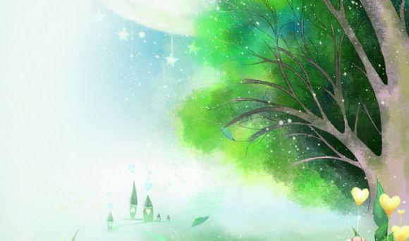 童话卡通树林ppt背景图片