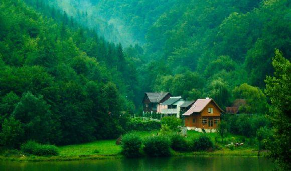 森林里的小屋ppt背景图片