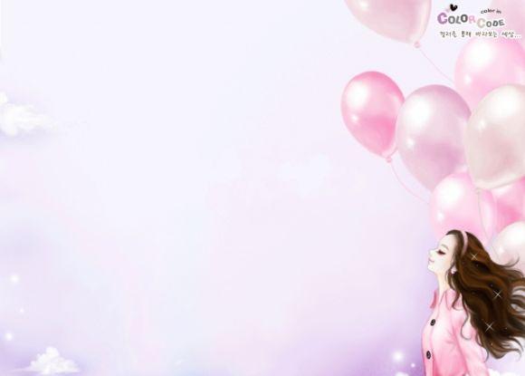 漂亮女孩粉色可爱卡通ppt背景图片