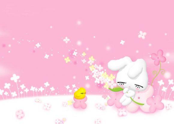漂亮的粉色可爱卡通ppt背景图片