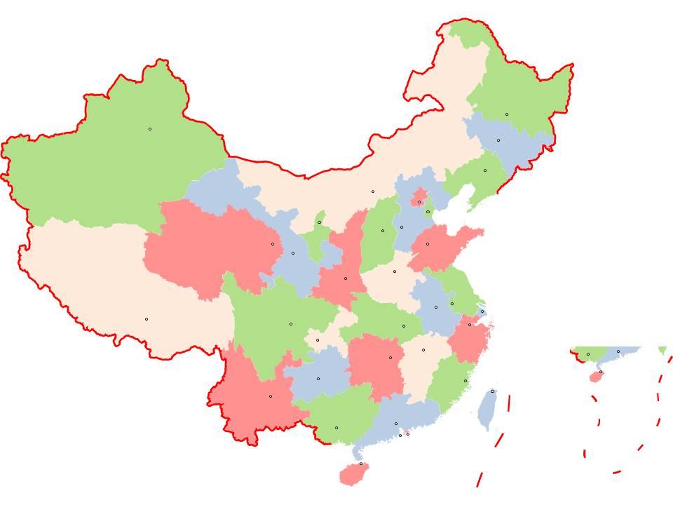 标准版中国地图PPT素材 省份可分离颜色可修改