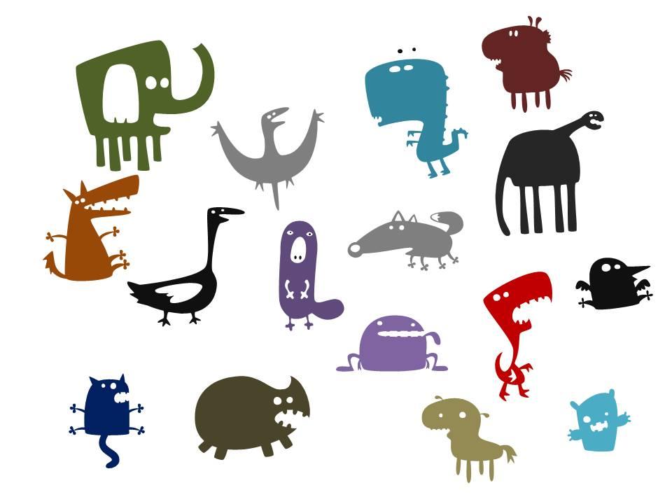 镂空动物ppt绘制各种动物剪贴画ppt素材