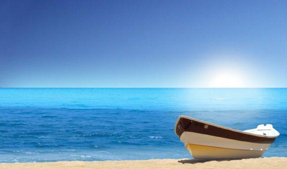 蓝天大海沙滩ppt背景